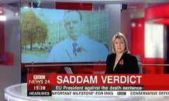 Saddam Hussein Sentenced 2006 - BBC News Channel Maxine Mawhinney and Peter Sissions (2)