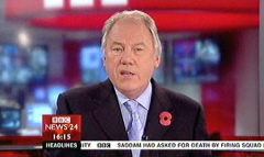 Saddam Hussein Sentenced 2006 - BBC News Channel Maxine Mawhinney and Peter Sissions (3)