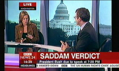 Saddam Hussein Sentenced 2006 - BBC News Channel Maxine Mawhinney and Peter Sissions (5)