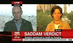 Saddam Hussein Sentenced 2006 - BBC News Channel Tim WIllcox and Jonathan Charles (2)