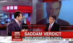 Saddam Hussein Sentenced 2006 - BBC News Channel Tim WIllcox and Jonathan Charles (3)