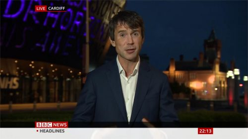 Hywel Griffith in Cardiff for BBC News (2)