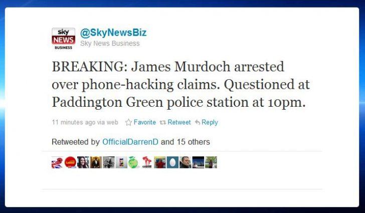 """@SkyNewsBiz breaks """"James Murdoch Arrested"""""""