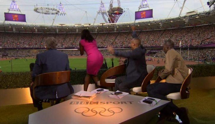 Denise Lewis, Michael Johnson and Colin Jackson cheer on Mo Farah