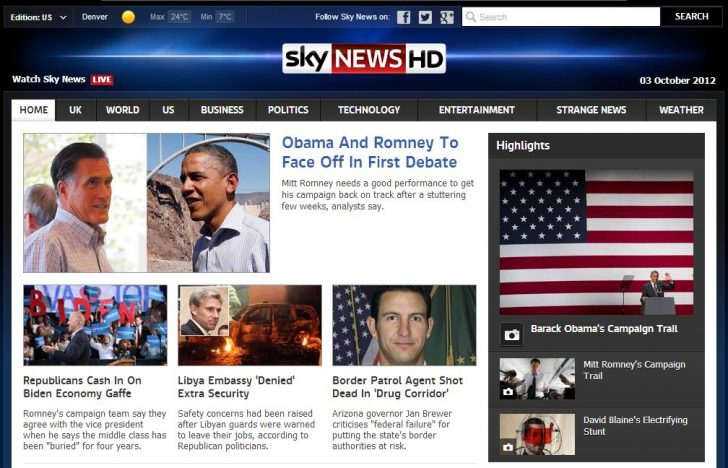 Sky News US Homepage