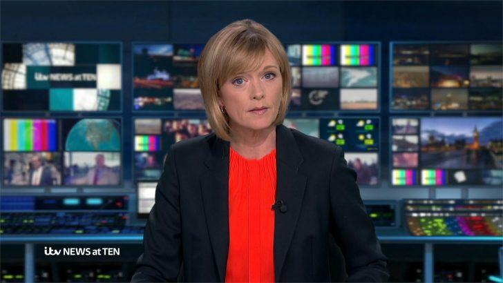 Julie Etchingham presenting ITV News at Ten