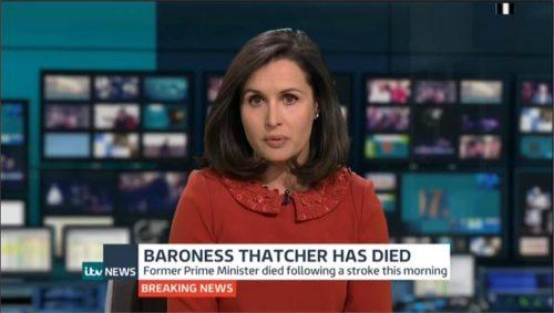 Margaret Thatcher dies - ITV News Flash 1311pm 04-08 14-27-43