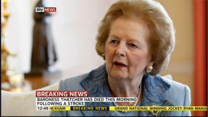Sky breaks the news of Baroness Thatcher's death