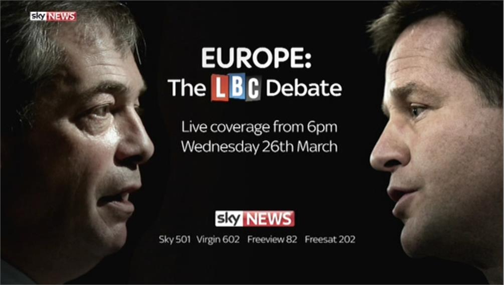 Sky News to show coverage of Clegg v Farage European Debates