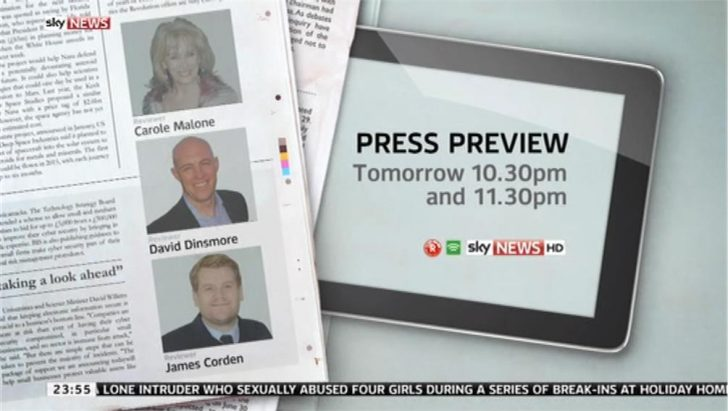 James Corden to preview the papers on Sky News Press Preview
