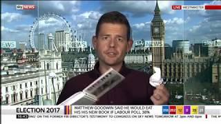 Matthew Goodwin eats book on Sky News