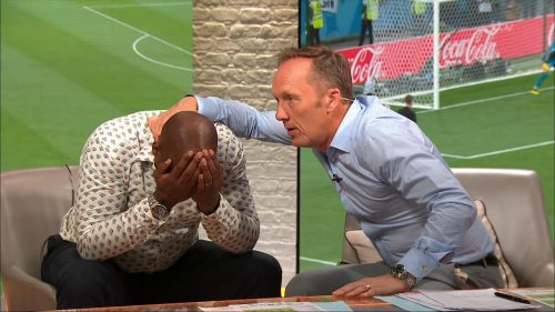 Gary Neville, Ian Wright and Lee Dixon celebrate England's win over Columbia (1)
