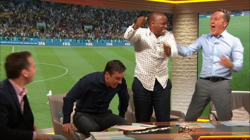 Gary Neville, Ian Wright and Lee Dixon celebrate England's win over Columbia (10)