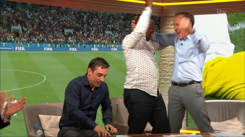 Gary Neville, Ian Wright and Lee Dixon celebrate England's win over Columbia (11)