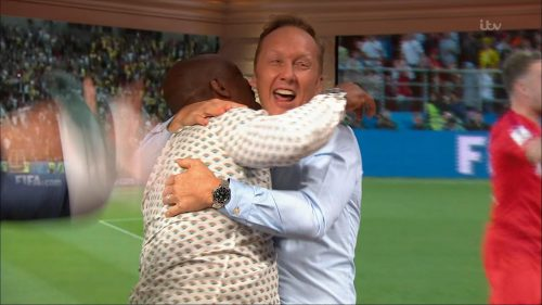 Gary Neville, Ian Wright and Lee Dixon celebrate England's win over Columbia (12)