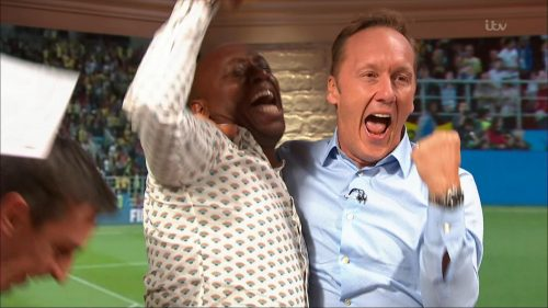 Gary Neville, Ian Wright and Lee Dixon celebrate England's win over Columbia (13)