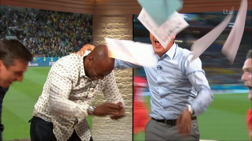 Gary Neville, Ian Wright and Lee Dixon celebrate England's win over Columbia (14)