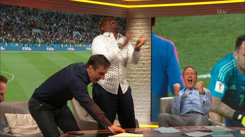 Gary Neville, Ian Wright and Lee Dixon celebrate England's win over Columbia (15)