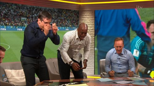 Gary Neville, Ian Wright and Lee Dixon celebrate England's win over Columbia (16)
