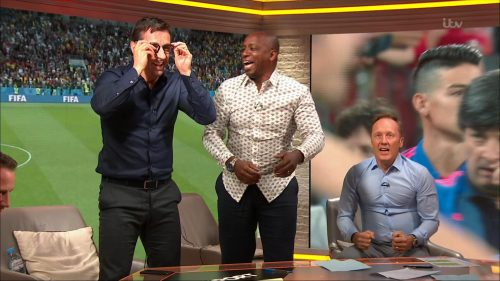 Gary Neville, Ian Wright and Lee Dixon celebrate England's win over Columbia (17)