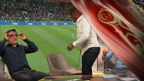 Gary Neville, Ian Wright and Lee Dixon celebrate England's win over Columbia (19)
