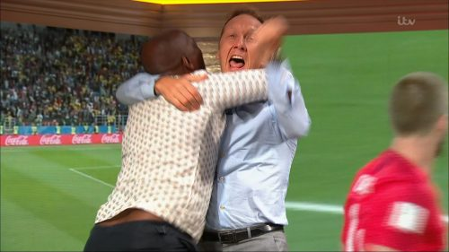 Gary Neville, Ian Wright and Lee Dixon celebrate England's win over Columbia (3)