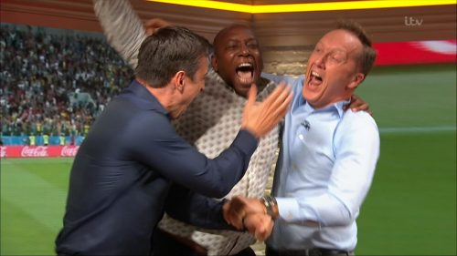 Gary Neville, Ian Wright and Lee Dixon celebrate England's win over Columbia (4)