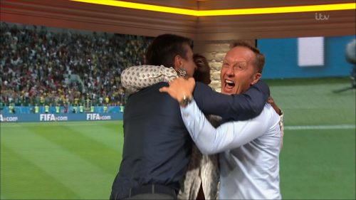 Gary Neville, Ian Wright and Lee Dixon celebrate England's win over Columbia (5)