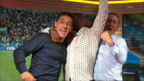 Gary Neville, Ian Wright and Lee Dixon celebrate England's win over Columbia (6)