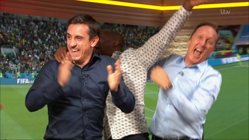 Gary Neville, Ian Wright and Lee Dixon celebrate England's win over Columbia (7)