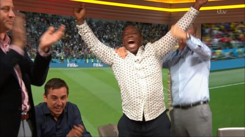 Gary Neville, Ian Wright and Lee Dixon celebrate England's win over Columbia (8)