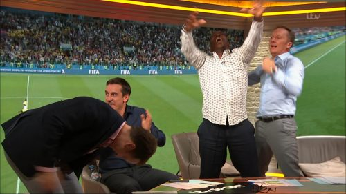 Gary Neville, Ian Wright and Lee Dixon celebrate England's win over Columbia (9)