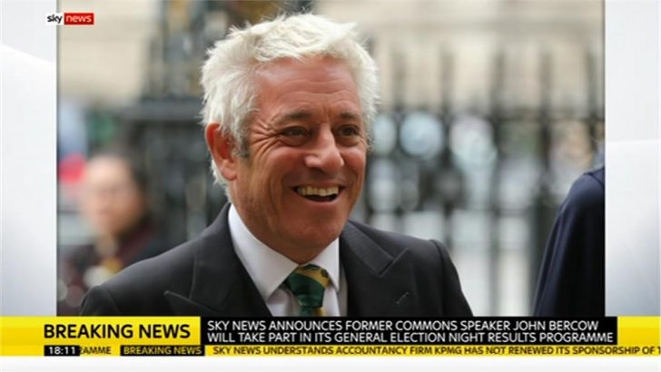 Former HoC speaker John Bercow to join Sky News on election night